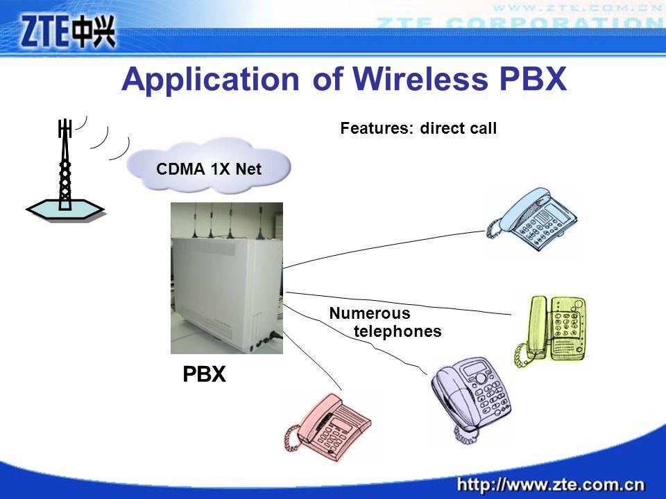 Application of Wireless PBX CDMA 1X Net PBX Numerous telephones Features: direct call