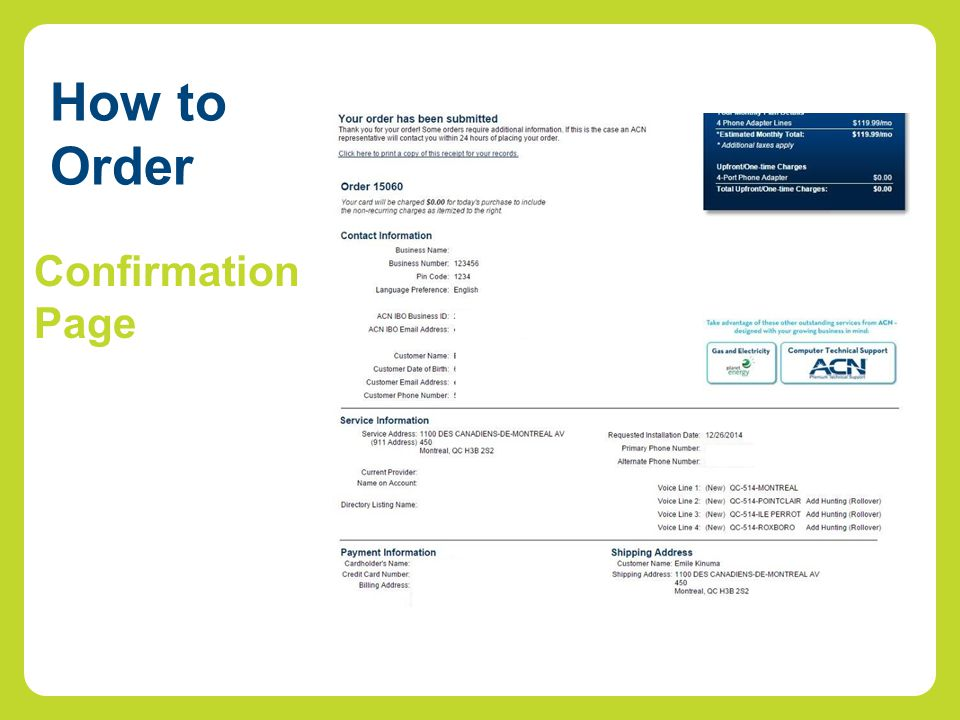 How to Order Confirmation Page