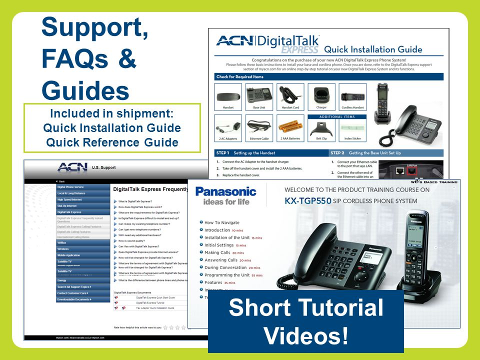 Support, FAQs & Guides Included in shipment: Quick Installation Guide Quick Reference Guide Short Tutorial Videos!