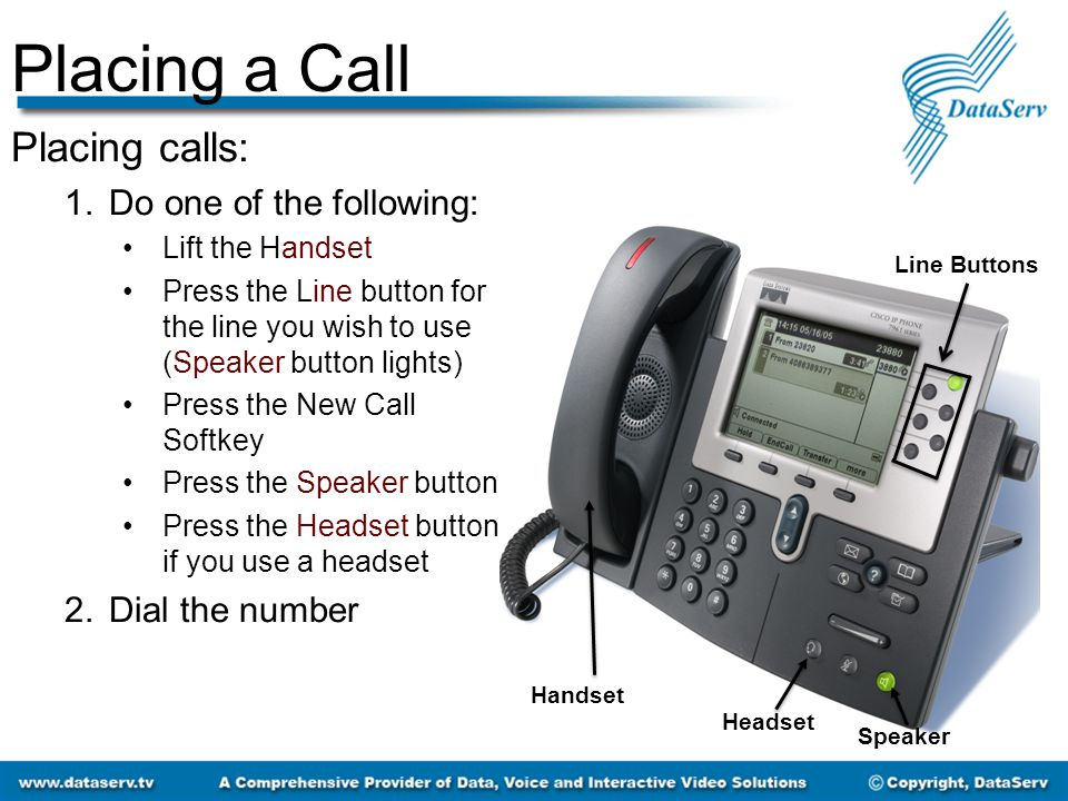 Placing a Call Placing calls: 1.Do one of the following: Lift the Handset Press the Line button for the line you wish to use (Speaker button lights) P