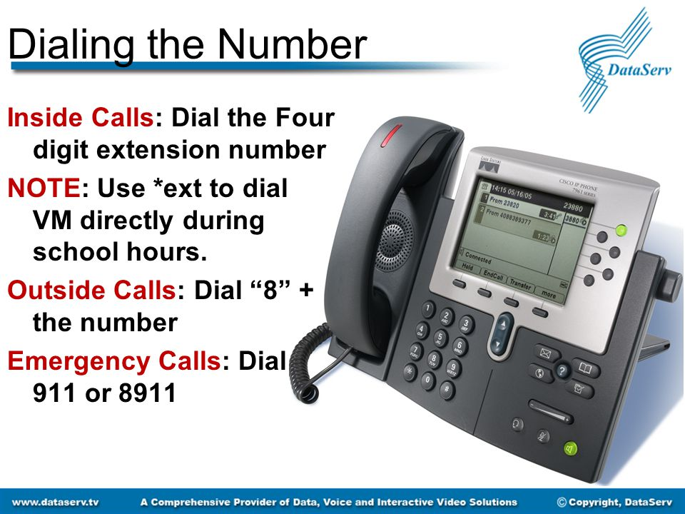 """Dialing the Number Inside Calls: Dial the Four digit extension number NOTE: Use *ext to dial VM directly during school hours. Outside Calls: Dial """"8"""""""