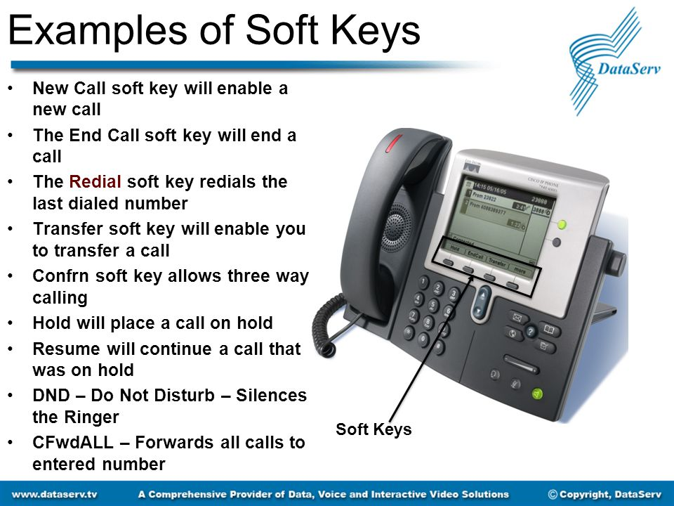 Examples of Soft Keys New Call soft key will enable a new call The End Call soft key will end a call The Redial soft key redials the last dialed numbe