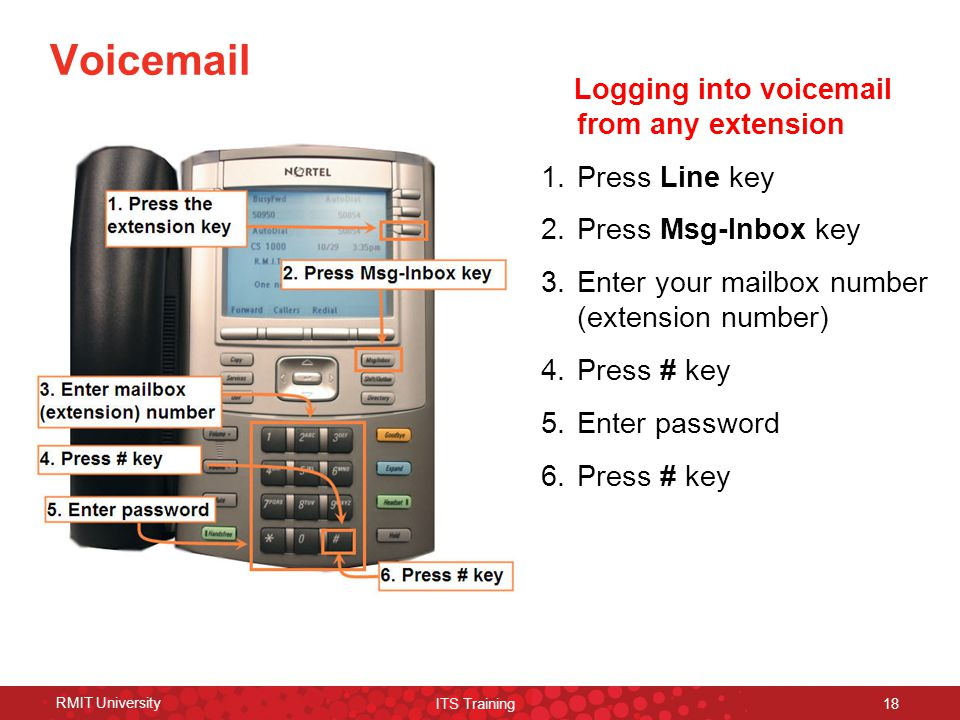RMIT University ITS Training 18 Voicemail Logging into voicemail from any extension 1.Press Line key 2.Press Msg-Inbox key 3.Enter your mailbox number (extension number) 4.Press # key 5.Enter password 6.Press # key