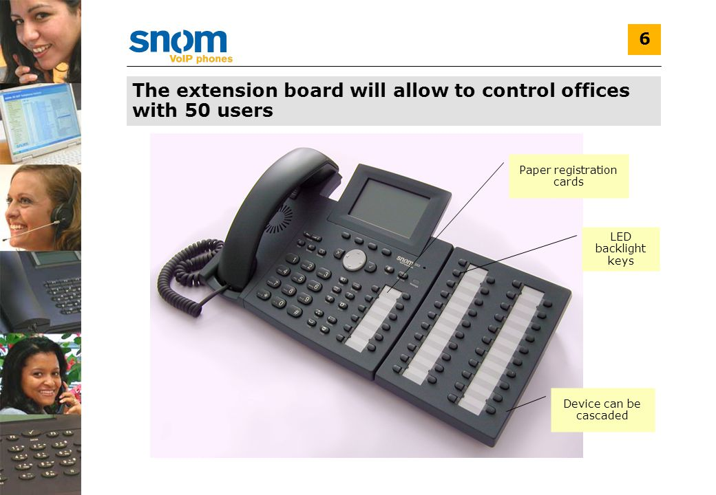 6 The extension board will allow to control offices with 50 users Paper registration cards LED backlight keys Device can be cascaded