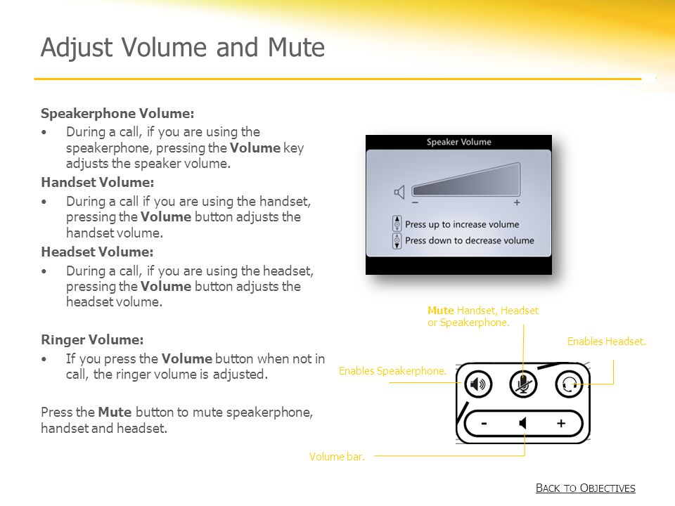 Adjust Volume and Mute Speakerphone Volume: During a call, if you are using the speakerphone, pressing the Volume key adjusts the speaker volume.