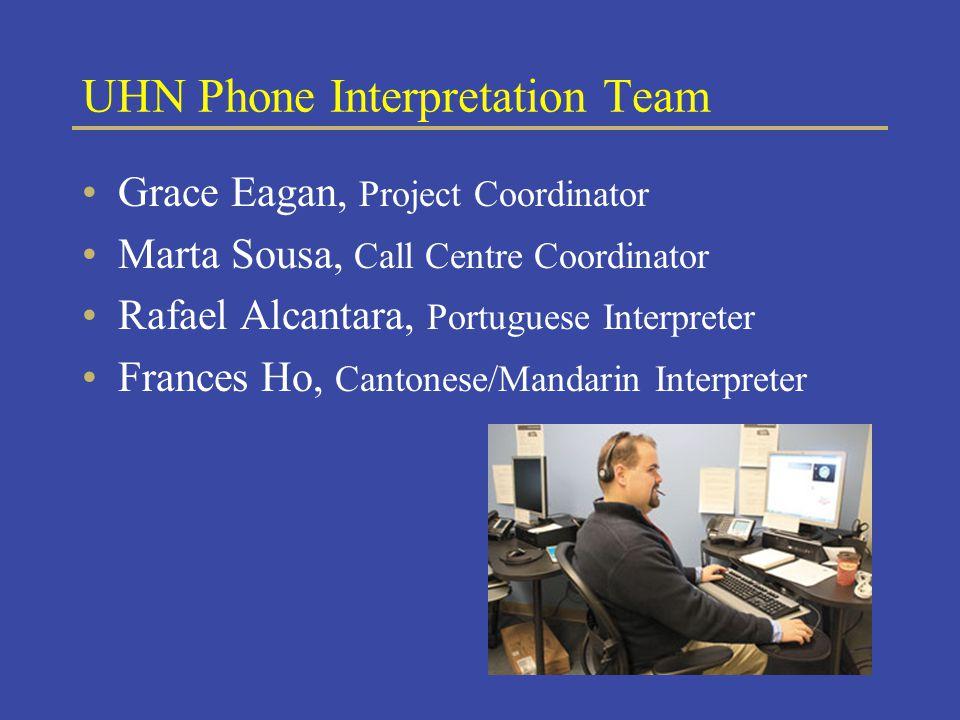 UHN Phone Interpretation Team Grace Eagan, Project Coordinator Marta Sousa, Call Centre Coordinator Rafael Alcantara, Portuguese Interpreter Frances Ho, Cantonese/Mandarin Interpreter