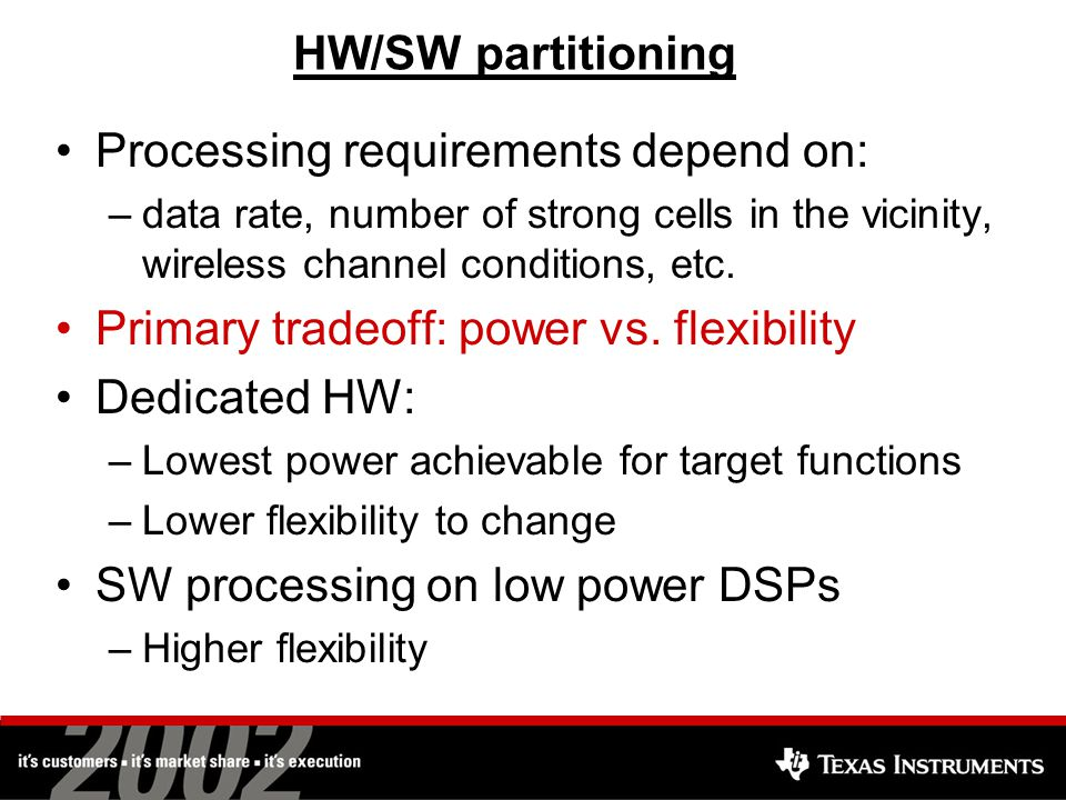 HW/SW partitioning Processing requirements depend on: –data rate, number of strong cells in the vicinity, wireless channel conditions, etc.