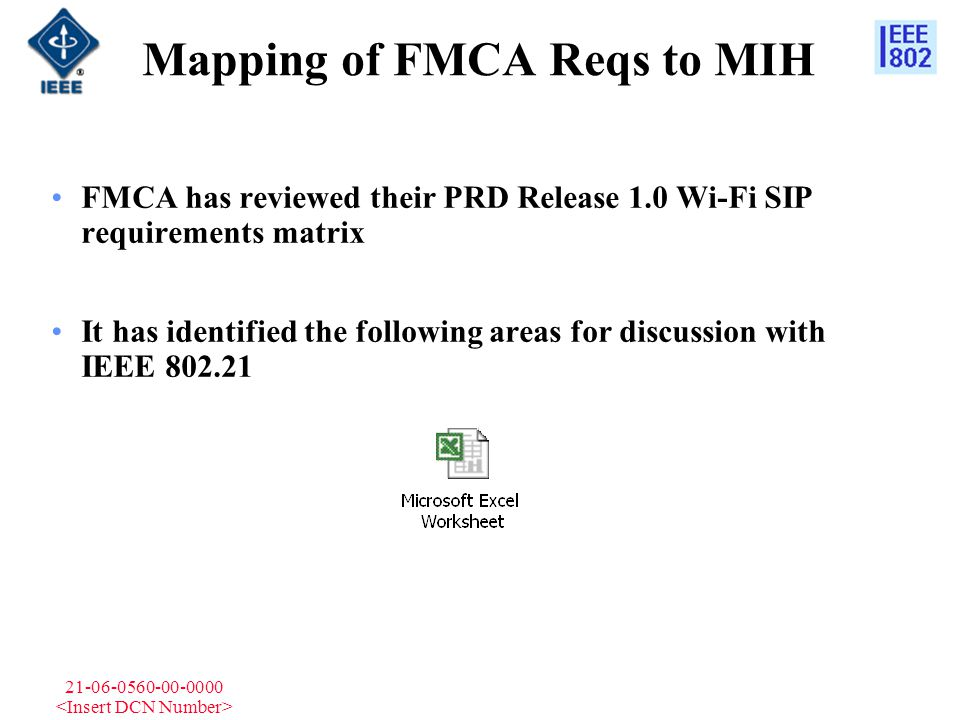 21-06-0560-00-0000 Mapping of FMCA Reqs to MIH FMCA has reviewed their PRD Release 1.0 Wi-Fi SIP requirements matrix It has identified the following a