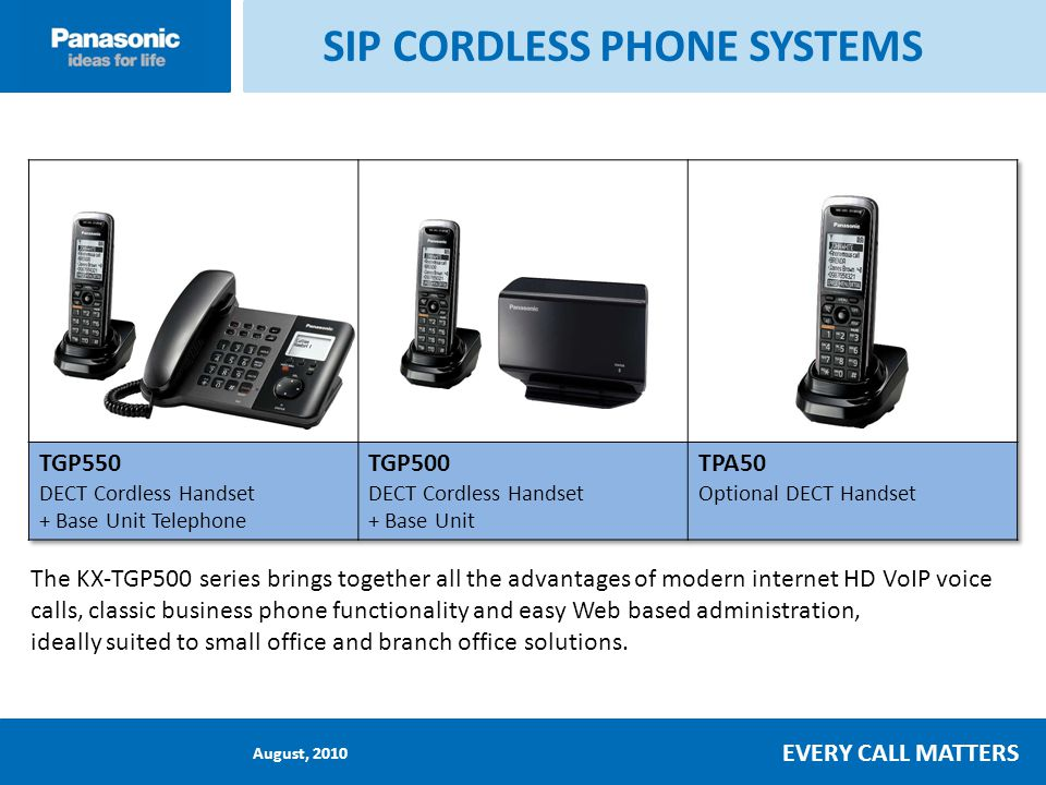 August, 2010 EVERY CALL MATTERS Handset and Base Station Functions Call all cordless handsets by pushing [ALL] button Base unit has call button for cordless handset busy indicator This example : Handset #1 and #2 in-use/busy Handset No.