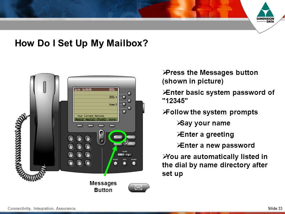 Connectivity.Integration. Assurance.Slide 33 How Do I Set Up My Mailbox.