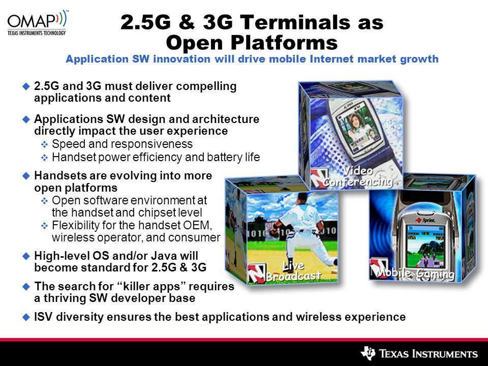2.5G & 3G Terminals as Open Platforms Application SW innovation will drive mobile Internet market growth  2.5G and 3G must deliver compelling applica