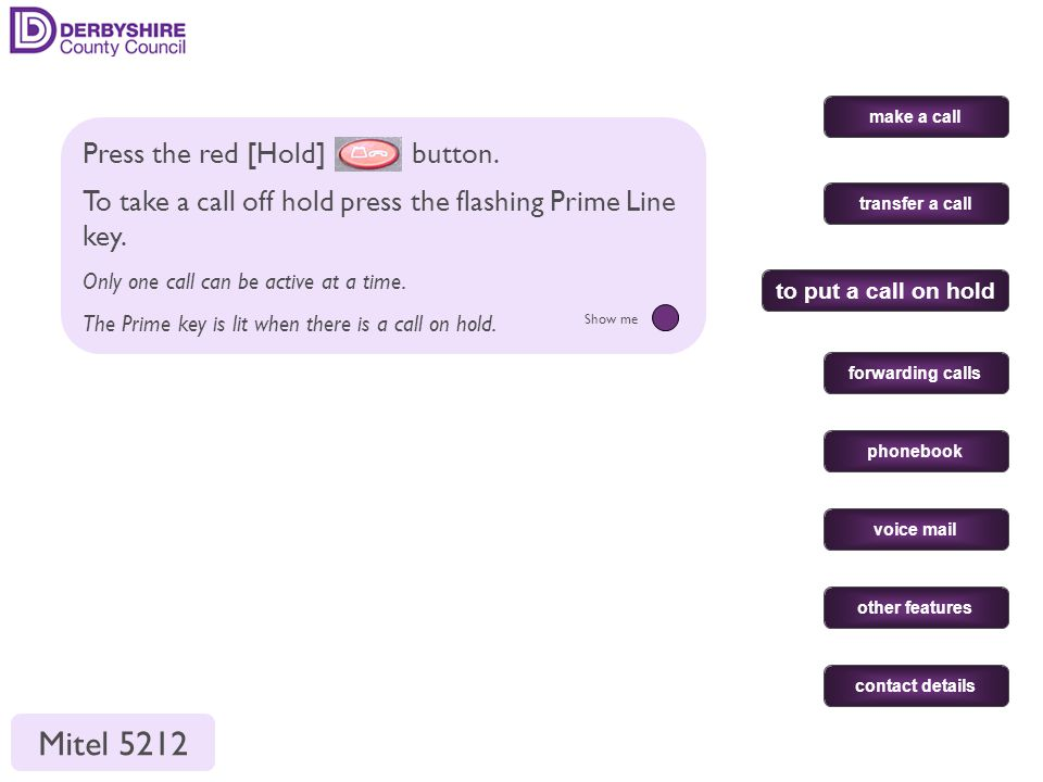 make a call transfer a call forwarding calls phonebook voice mail other features contact details to put a call on hold Press the red [Hold] button.