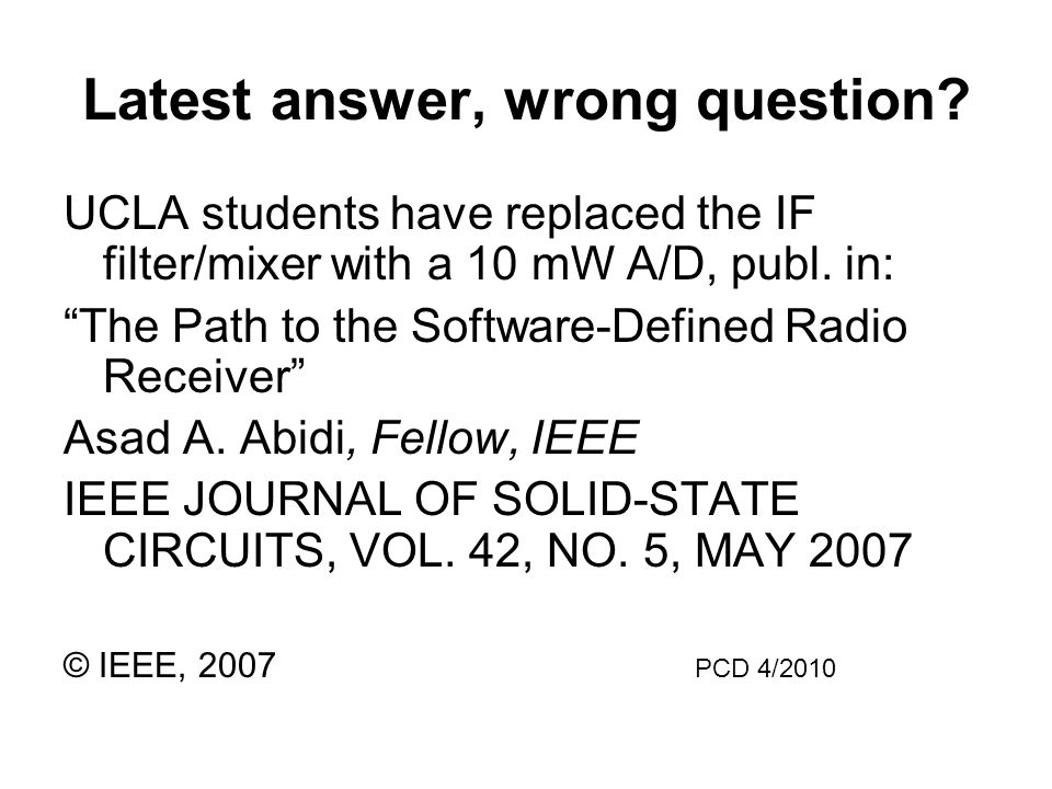 Latest answer, wrong question.