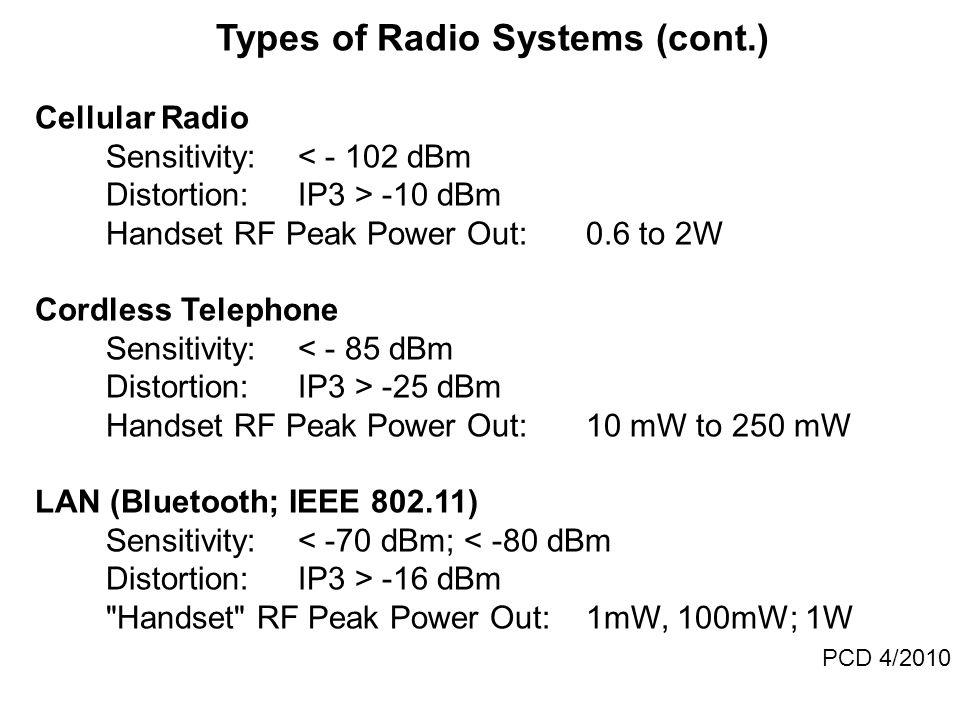 Types of Radio Systems (cont.) Cellular Radio Sensitivity:< - 102 dBm Distortion:IP3 > -10 dBm Handset RF Peak Power Out:0.6 to 2W Cordless Telephone Sensitivity:< - 85 dBm Distortion:IP3 > -25 dBm Handset RF Peak Power Out:10 mW to 250 mW LAN (Bluetooth; IEEE 802.11) Sensitivity:< -70 dBm; < -80 dBm Distortion:IP3 > -16 dBm Handset RF Peak Power Out: 1mW, 100mW; 1W PCD 4/2010
