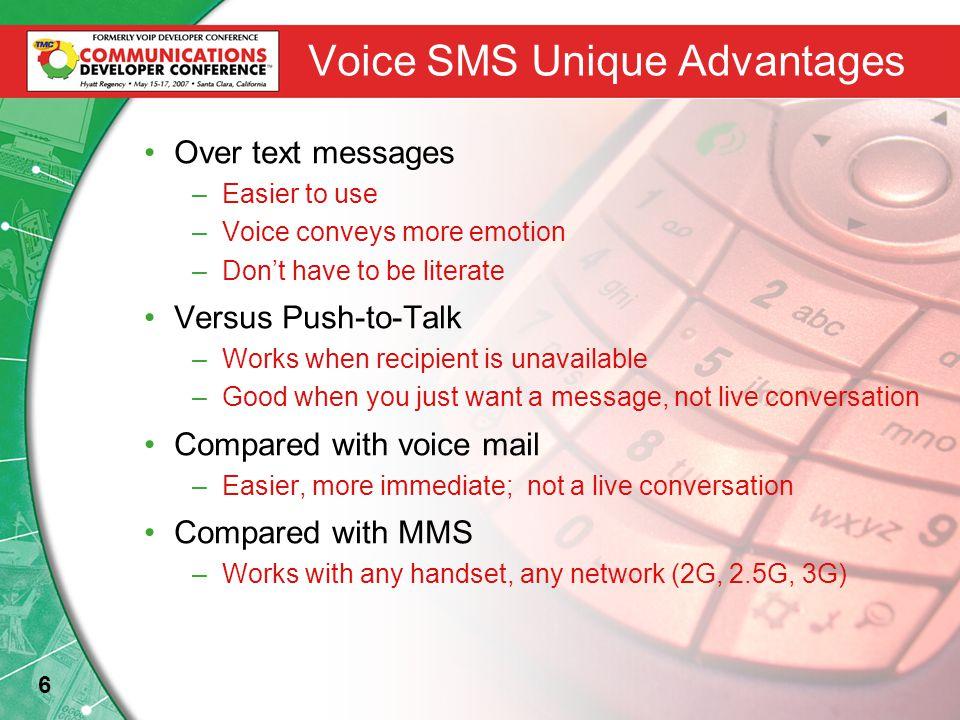 17 Voice SMS Integration Mobile Network Voice SMS Platform Billing Admin Message Processing Voice Platform prepaid postpaid SMSC MMSC OA&M Operator Help Desk MSC Subscriber Administrator Firewall Event based billing Billing & Mediation Source: Kirusa Inc.