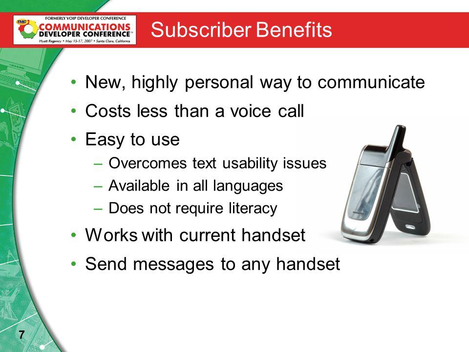 18 Voice SMS Platform Vision VoiceXML Server Mobile Network Application Server Content Server VoiceXML HTTP SS7 SMSC MSC Vision Signaling Server Voice SMS Speech Resource Servers MRCP, RTP IP Connectivity PSTN Alternative