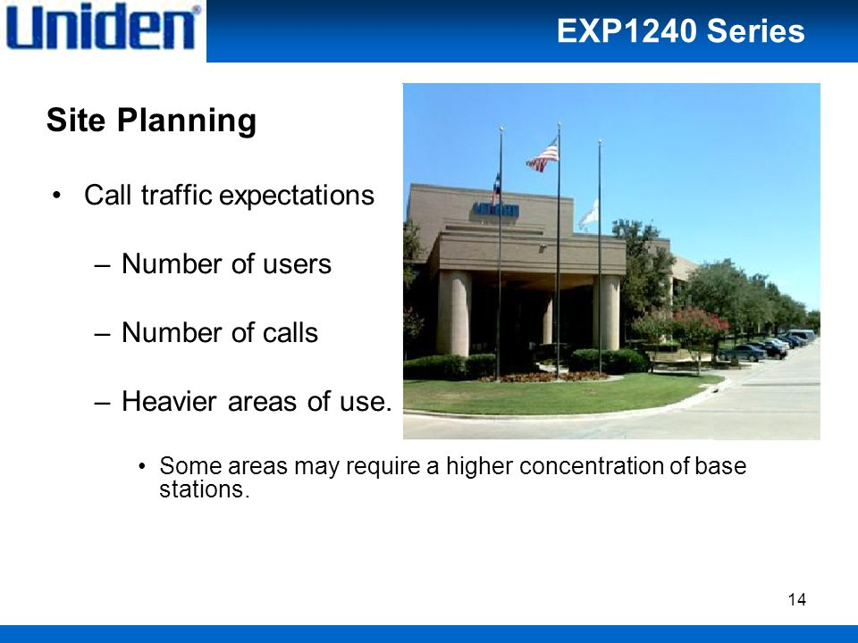 14 Site Planning Call traffic expectations –Number of users –Number of calls –Heavier areas of use.
