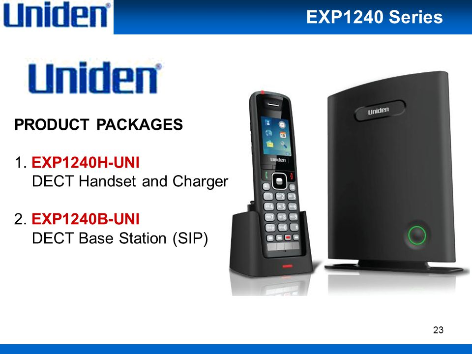 23 PRODUCT PACKAGES 1. EXP1240H-UNI DECT Handset and Charger 2.