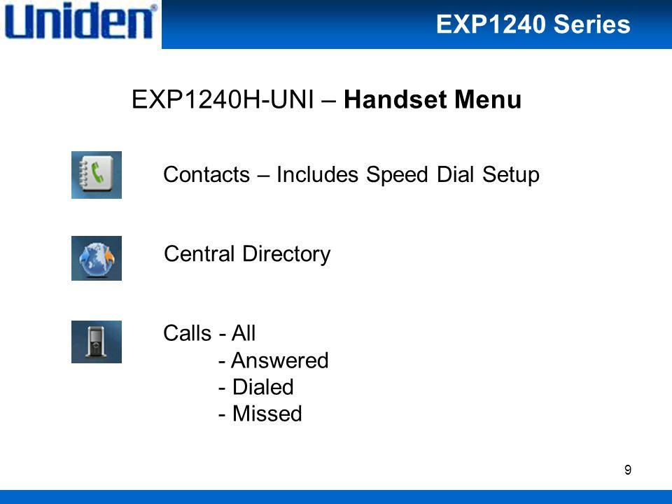 10 Connectivity - Register - Deregister Alarms - Alarm; Off, On - Recurrent alarm - Snooze time; 1-10 min EXP1240H-UNI – Handset Menu EXP1240 Series
