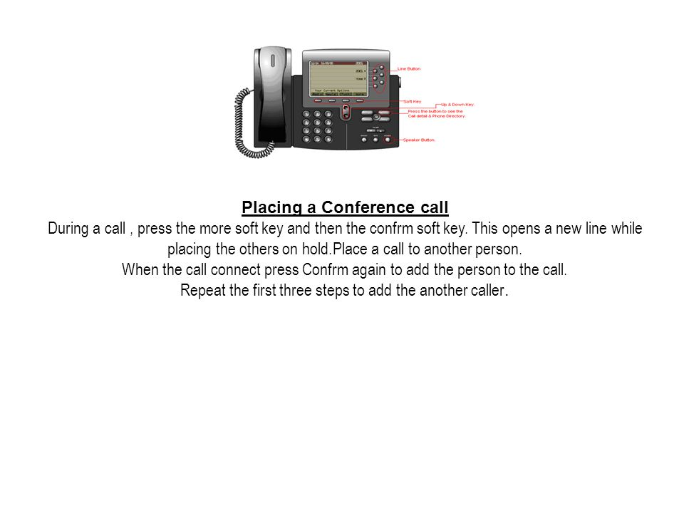 Placing a Conference call During a call, press the more soft key and then the confrm soft key.