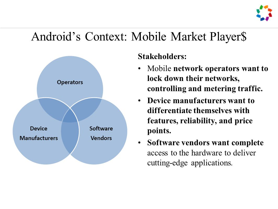 Android's Context: Mobile Market Player$ Stakeholders: Mobile network operators want to lock down their networks, controlling and metering traffic.