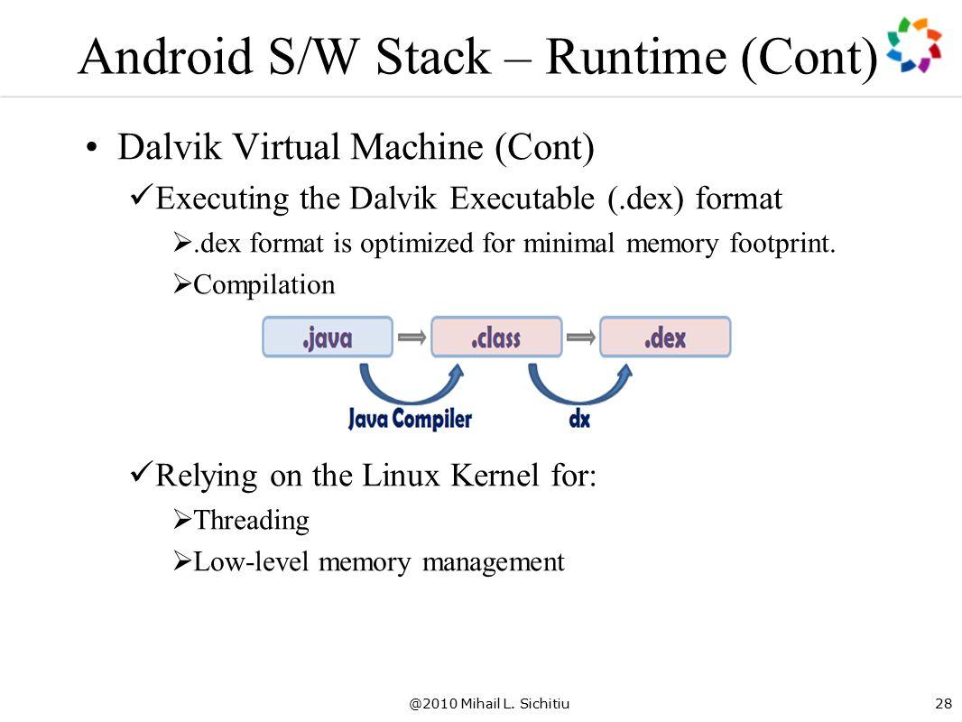 @2010 Mihail L. Sichitiu28 Android S/W Stack – Runtime (Cont) Dalvik Virtual Machine (Cont) Executing the Dalvik Executable (.dex) format .dex format