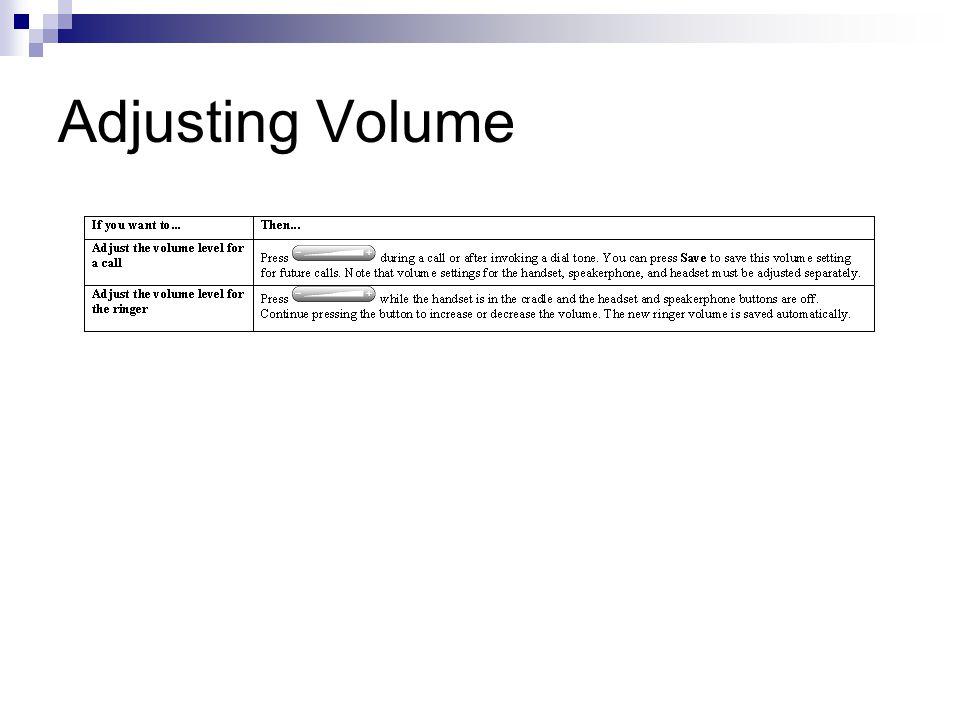 Adjusting Volume