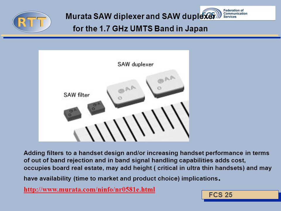 FCS 25 Murata SAW diplexer and SAW duplexer for the 1.7 GHz UMTS Band in Japan Adding filters to a handset design and/or increasing handset performance in terms of out of band rejection and in band signal handling capabilities adds cost, occupies board real estate, may add height ( critical in ultra thin handsets) and may have availability (time to market and product choice) implications.