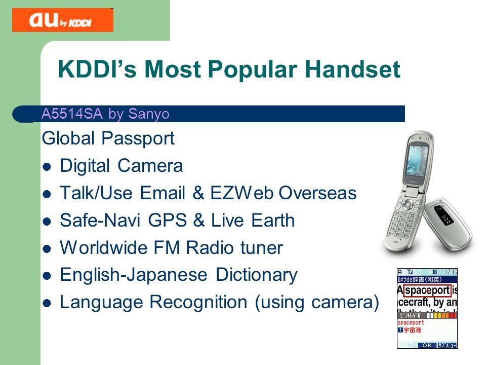 KDDI's Most Popular Handset A5514SA by Sanyo Global Passport Digital Camera Talk/Use Email & EZWeb Overseas Safe-Navi GPS & Live Earth Worldwide FM Radio tuner English-Japanese Dictionary Language Recognition (using camera)