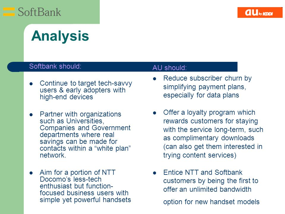 Analysis Softbank should: Continue to target tech-savvy users & early adopters with high-end devices Partner with organizations such as Universities,