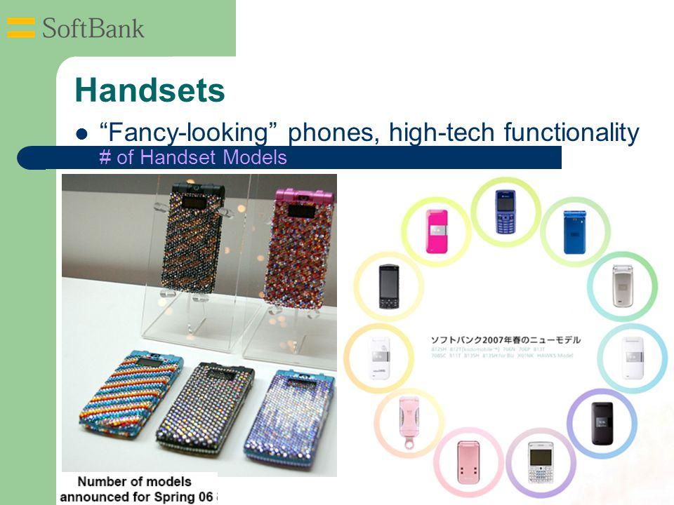 Handsets # of Handset Models Fancy-looking phones, high-tech functionality