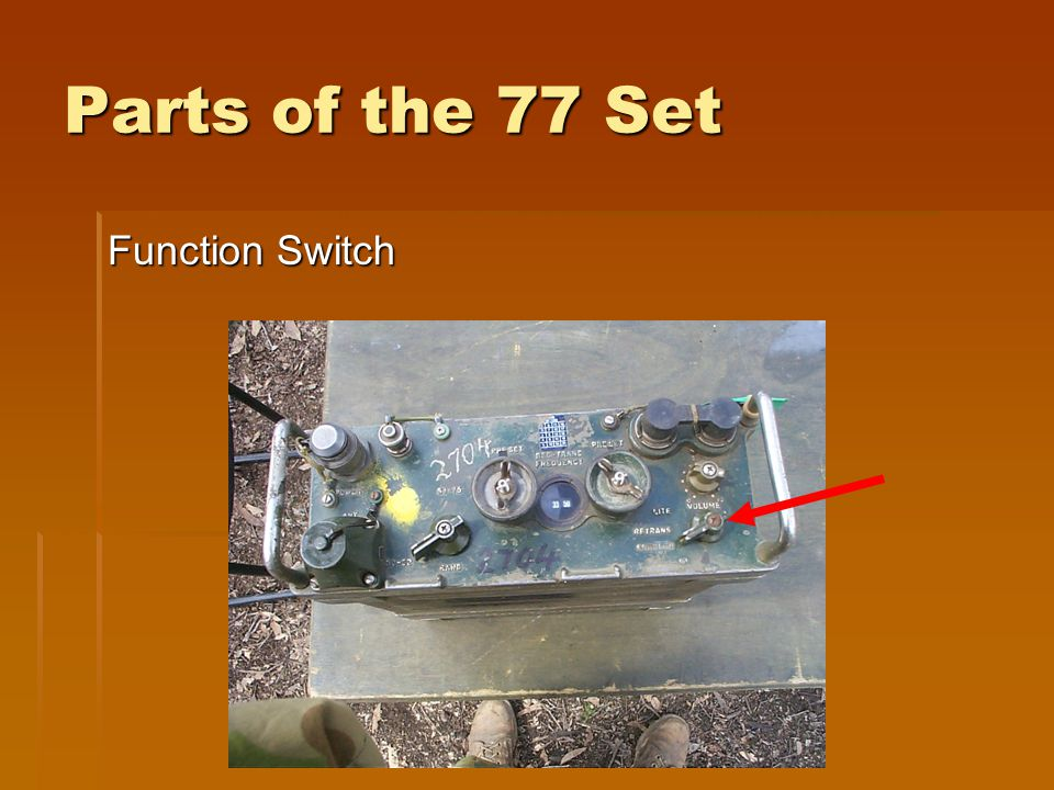 Parts of the 77 Set Function Switch