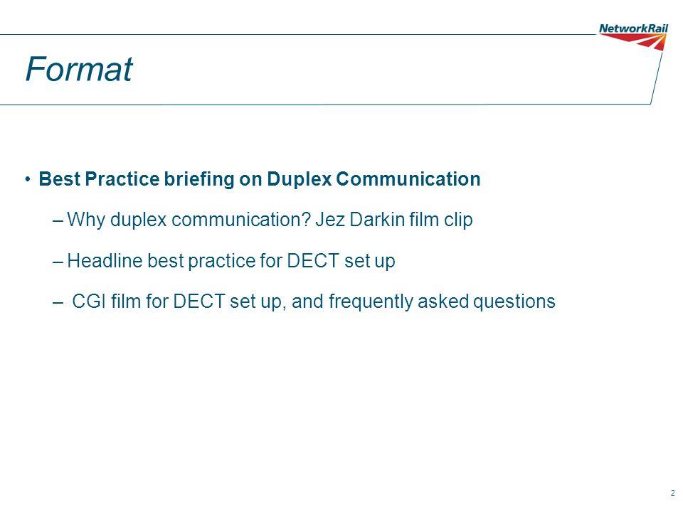 2 Format Best Practice briefing on Duplex Communication –Why duplex communication.