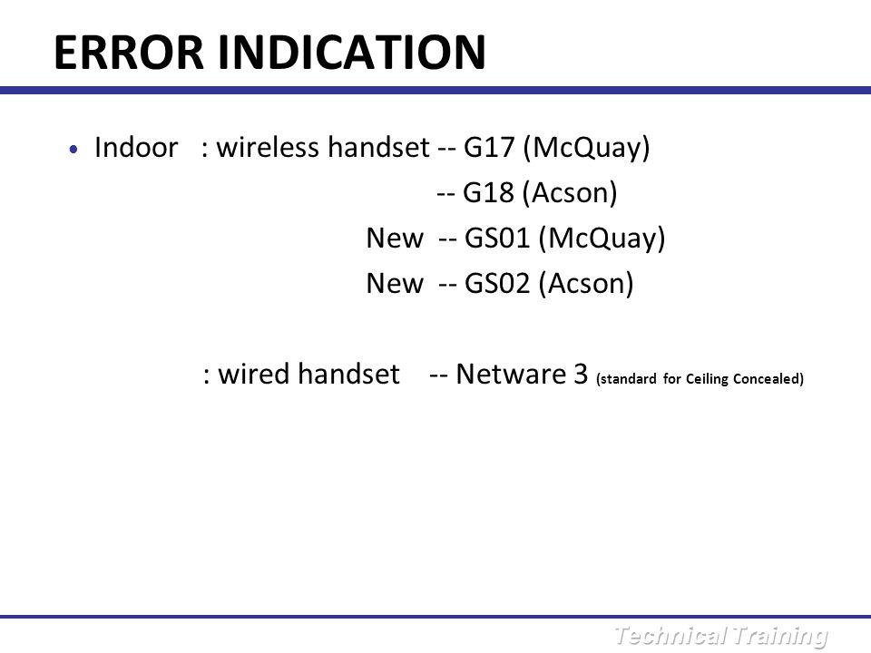 ERROR INDICATION Using wireless handset G17/18 to retrieve error code: 1.