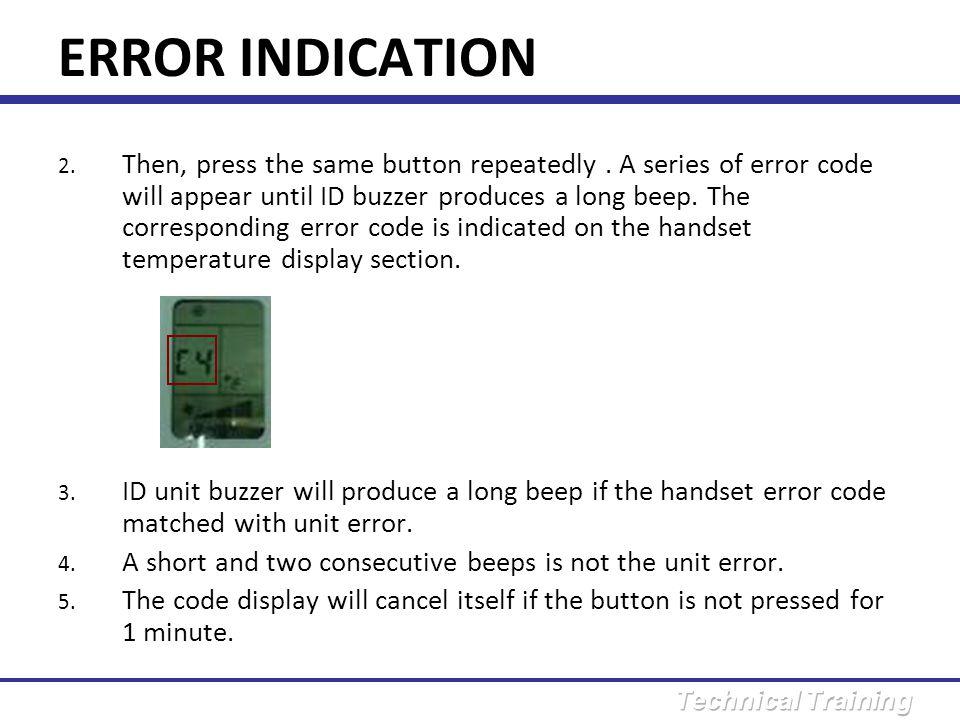 ERROR INDICATION 1.