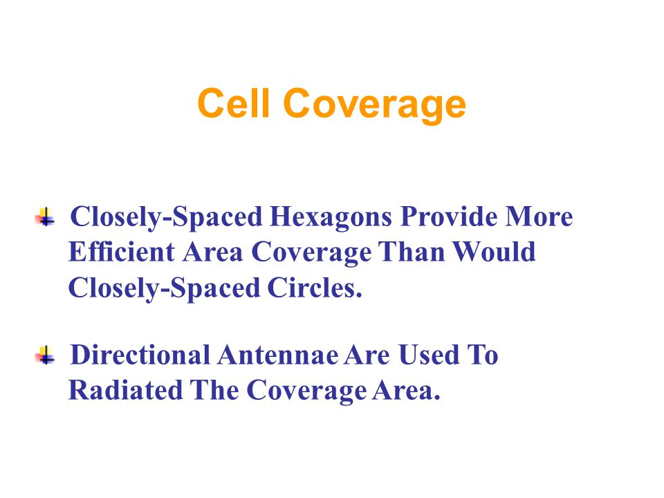 Cell Coverage Closely-Spaced Hexagons Provide More Efficient Area Coverage Than Would Closely-Spaced Circles.