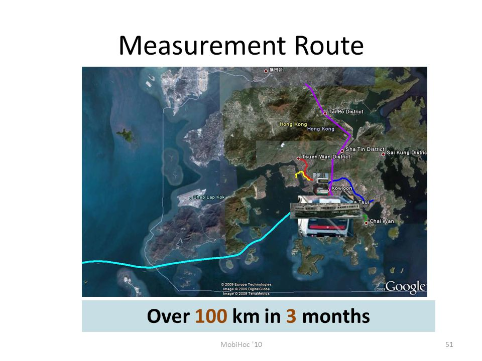 Measurement Route 51MobiHoc 10 Over 100 km in 3 months