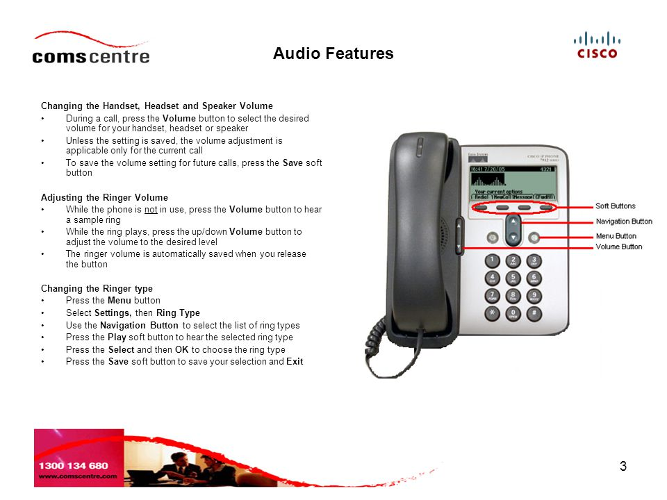 4 Placing a Call (Dial '0' to get a line out) You can make a call with the Cisco 7912 IP Phone in any of the following ways:- Lifting the Handset and dialling the number Dialling the number, then press the Dial soft button or lift the Handset Press the Menu button then:- –Select Directories from the Menu –Select the directory you require –Use the Navigation button to search for and highlight the entry you require –Press the Dial soft button or lift the Handset TIP: If you make a mistake while entering a phone number, press << to erase one or more digits.