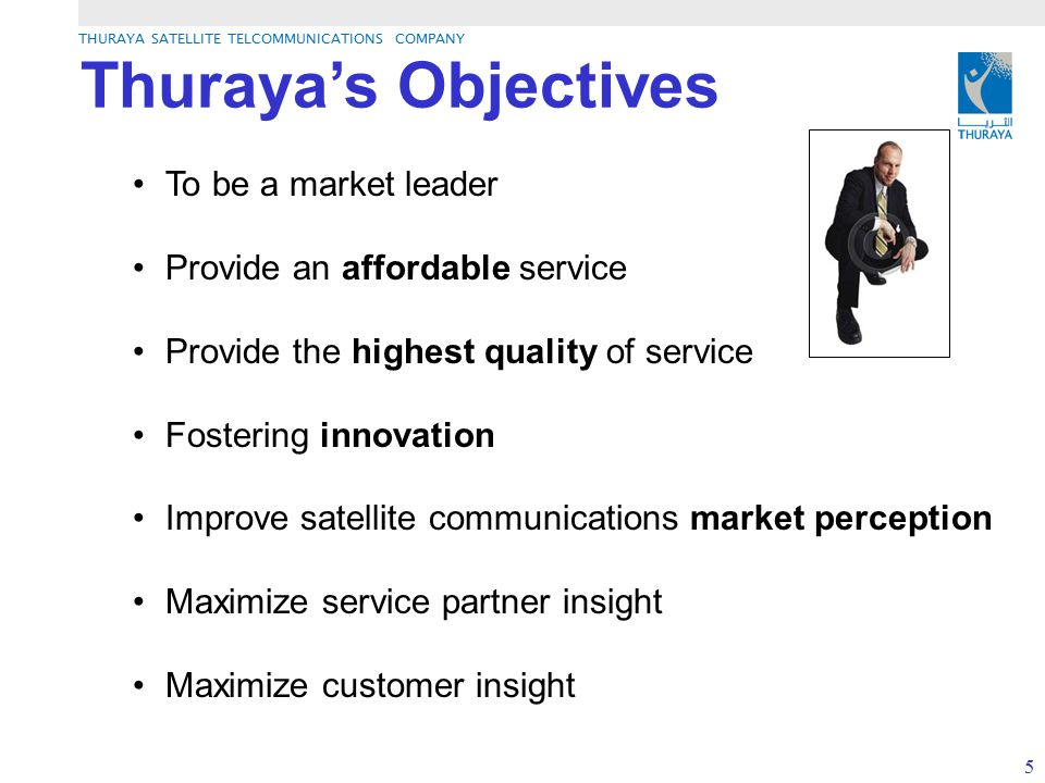 THURAYA SATELLITE TELCOMMUNICATIONS COMPANY 5 Thuraya's Objectives To be a market leader Provide an affordable service Provide the highest quality of