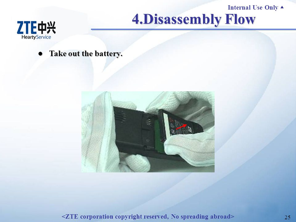 Internal Use Only ▲ 25 4.Disassembly Flow Take out the battery. Take out the battery.