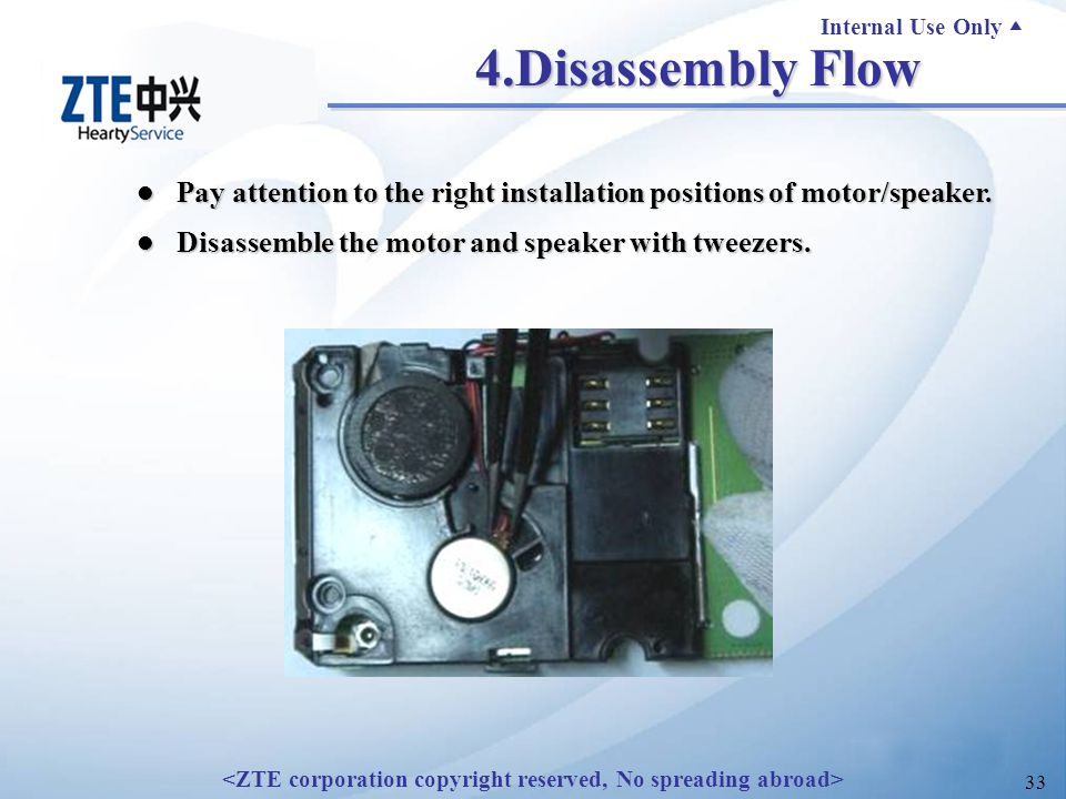 Internal Use Only ▲ 33 4.Disassembly Flow Pay attention to the right installation positions of motor/speaker.
