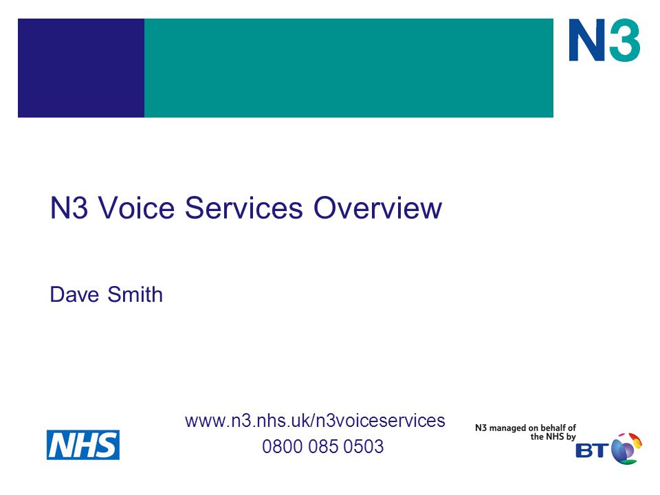 N3 Voice Services Overview Dave Smith www.n3.nhs.uk/n3voiceservices 0800 085 0503