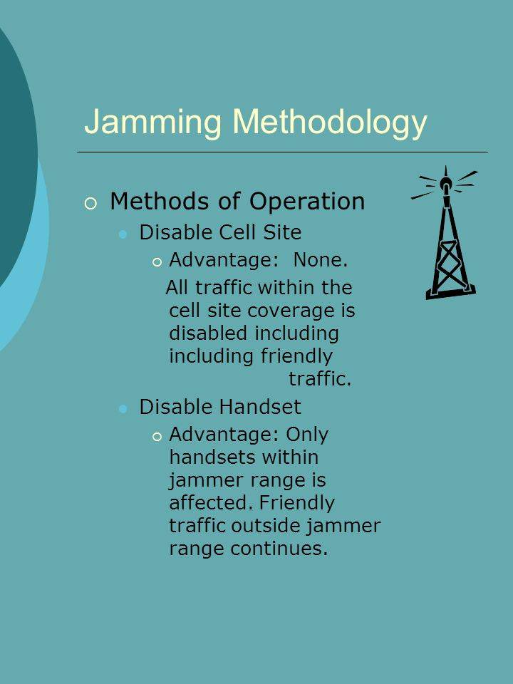Jamming Methodology  Methods of Operation Disable Cell Site  Advantage: None.