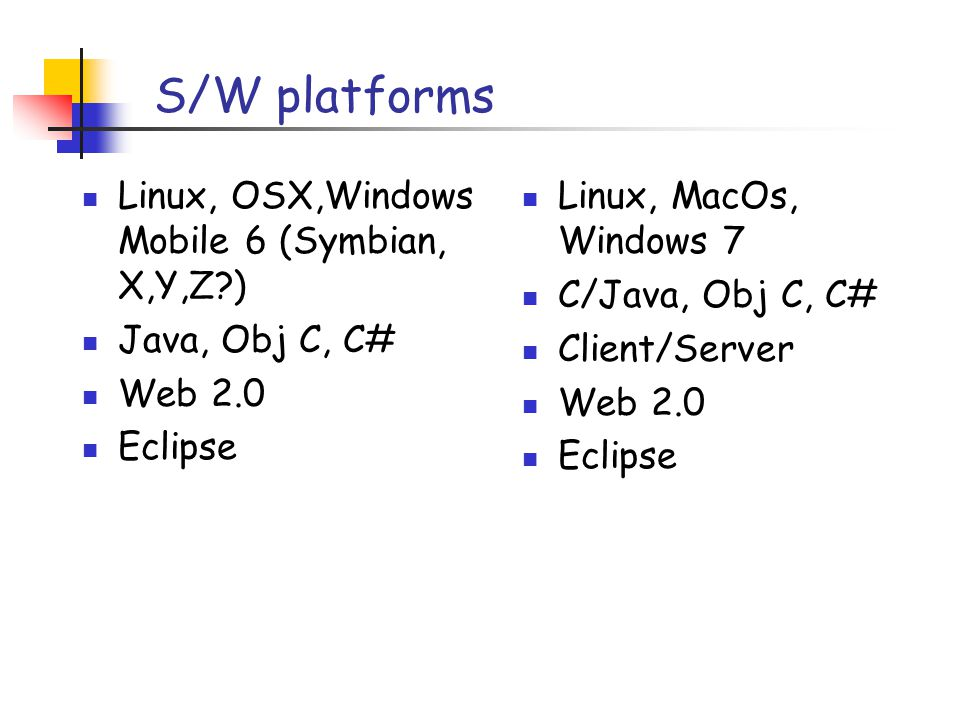 Applications & Development Browser (chrome, firefox, ie, safari etc) Web 2.0 (social net + location+context,+secur e id, plus, cameras:) Sqlite Server (but almost certainly Natted) Music/film/infotainment Browser(ditto) Web 2.0 (social net, amazon, flickr) Database (well, modest) Server (but prob.