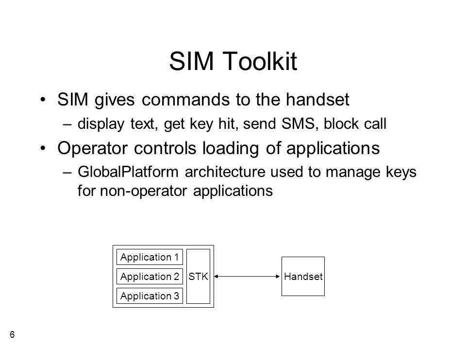7 SIM for Local Authentication SIM-based authentication and authorization –visited network is a merchant or a door SIM-based cryptographic services – session keys, certificates, signing, tickets, etc.