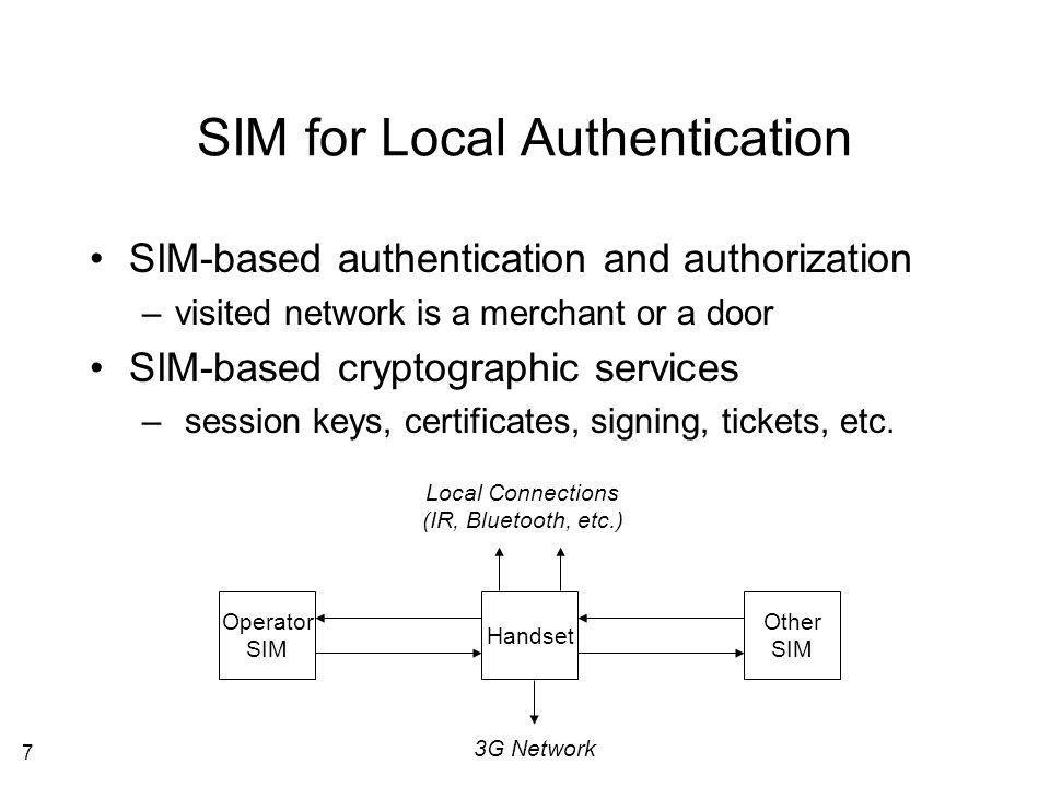 8 User-Equipment Split SIM is in the device needing signing and authentication services All that's left of the mobile communication network is the extended key infrastructure SIM A SIM B SIM C Network Operator Handset