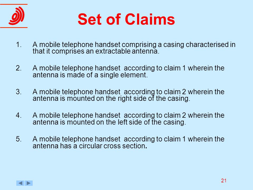21 Set of Claims 1.A mobile telephone handset comprising a casing characterised in that it comprises an extractable antenna. 2.A mobile telephone hand