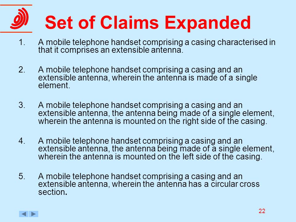 22 Set of Claims Expanded 1.A mobile telephone handset comprising a casing characterised in that it comprises an extensible antenna. 2.A mobile teleph