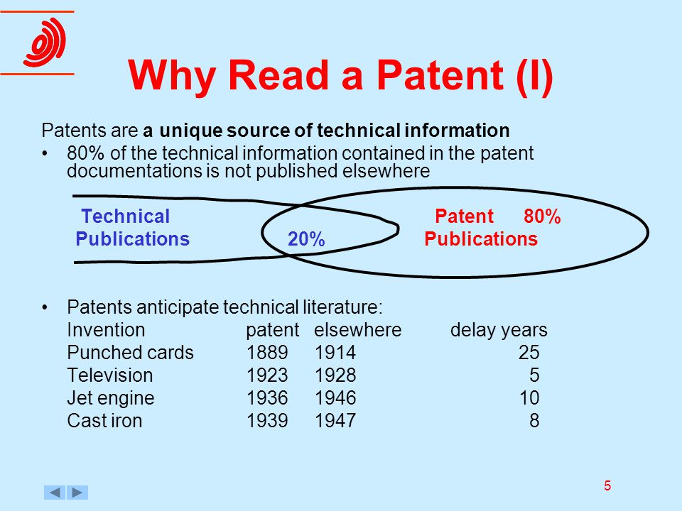 5 Why Read a Patent (I) Patents are a unique source of technical information 80% of the technical information contained in the patent documentations i