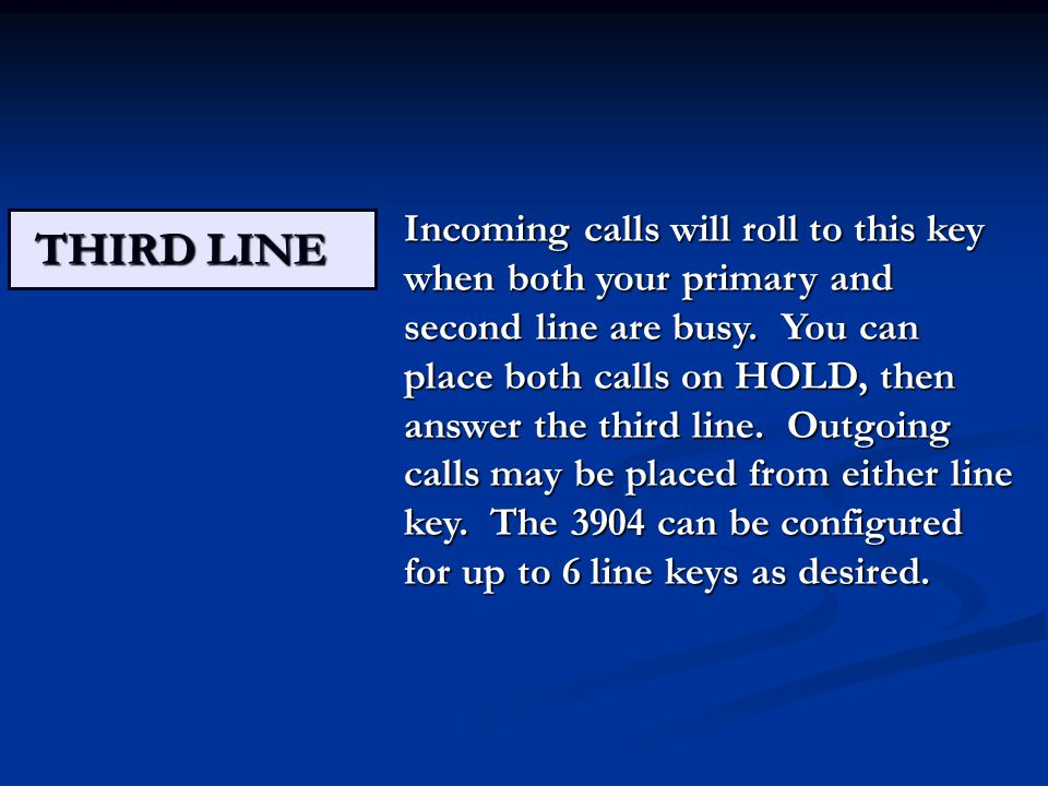 THIRD LINE Incoming calls will roll to this key when both your primary and second line are busy.